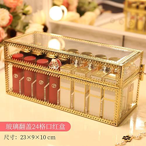 amayituo Haushaltsglas Staubdicht Lippenstift Aufbewahrungsbox Nicht Acryl Set Regal Kosmetische Lippenstift Mädchen Desktop Finishing Gold Staubdicht 24 Grid (Kann Setzen Tf Lammfell)