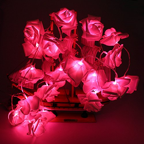 Avanti 20 Led Battery Operated Premium String Romantic Flower Rose Fairy Light Lamp Outdoor for Valentine's Day, Wedding, Room, Garden, Christmas, Patio, Festival Party Decor(Red)