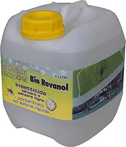 Sandokan Insetticida Concentrato Abbattente Bio Revanol Formula PLUS 10% 3L adatto contro zanzare e insetti volanti e striscianti Azione immediata per giardini prati e siepi