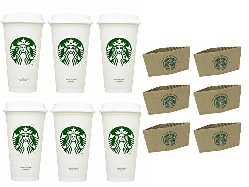 Starbucks Reisebecher, wiederverwendbar, recycelbar, auslaufsicher, BPA-frei, Grande 473 ml, 6 Stück mit Hüllen