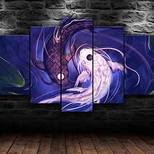 KOPASD Kunstdruck auf Leinwand 5 Leinwandkunst Yin Yang-Symbol Koi-Fisch Sonnenuntergang Ölfarben, Fotodruck, moderner -Design, gespannt und gerahmt(200x100cm)