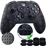 9CDeer Studded Protective Customize Transfer Printing Silicone Cover Skin Sleeve Case + 8 Thumb Grips Analog Caps for Xbox One/S/X Controller Skull Black Compatible with Official Stereo Headset