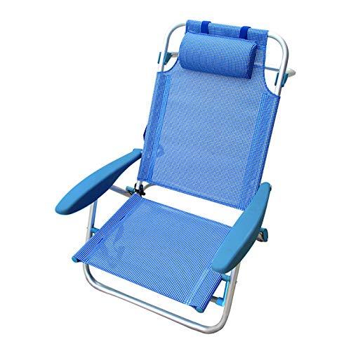 TIENDA EURASIA® Silla Plegable de Playa con Cojín - Silla Reforzada con 4 Posiciones - Estructura de Aluminio y Tela de Textileno (Azul Liso)