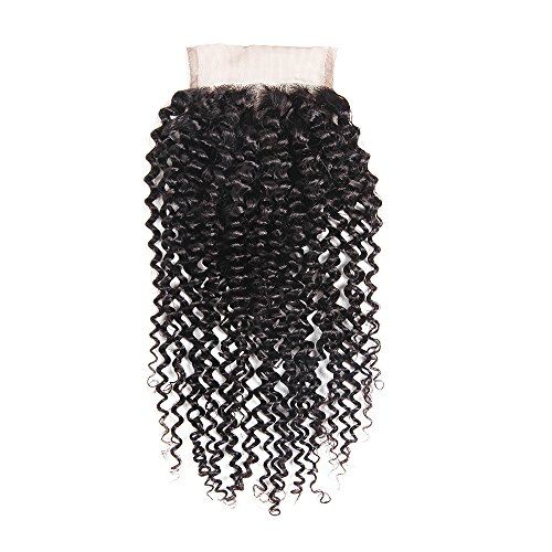 4 * 4 Kinky Bouclés Dentelle Fermeture Partie Libre Brésilienne Vierge Cheveux 100% Non Transformés Remy Cheveux Humains Couleur Naturelle (10 Pouce)