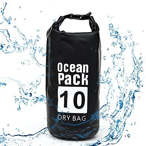 Bolsa Mochila Impermeable Estanca Seca, 10L Bolsa Estanca Impermeable con Correa El Hombro Ajustable para Deportes Acuáticos Náuticos Canoas Pesca Esquí Kayak En Barco Camping Senderismo - Negro