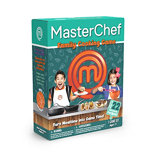 MasterChef Family Cooking Game. Turn Mealtime into Game Time! Includes 22 Family Tested Recipes. Ages 7+