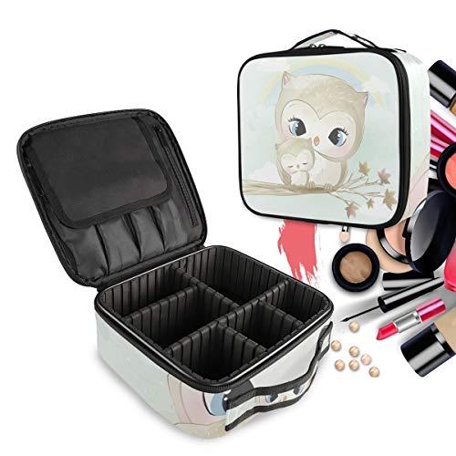 Hibou Gris Mère Bébé Oiseau Trousse Sac Cosmétique Organisateur de Maquillage Pochette Sacs Cas avec Cloisons Amovibles pour Voyage Les Femmes Filles