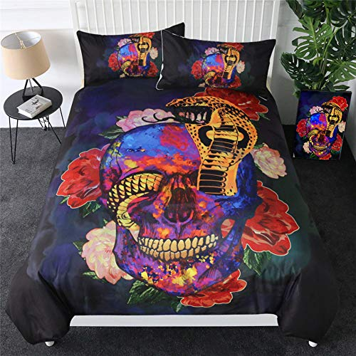 Bedding Duvet Cover 3D Printed Color skull and snake Quilt Duvet Cover with Zipper Closure for child Adults, Soft Microfiber Bedding 1pcs Duvet Cover (86.5x90.5 inch) and 2pcs Pillow Cover