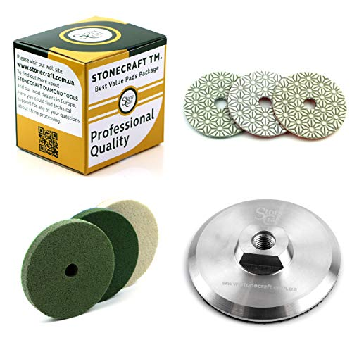 StoneCraft 3 + 3 Steps Universal Wet Diamond Polishing Set 7 pcs Set 4' Inch 5/8 Aluminium Backing Pad + BONUS Hook and Loop disc