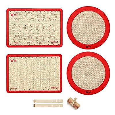 """4-Piece Silicone Baking Mat Set,GUANCI 2PCS 11-3/4"""" x 8-1/4"""" Rolling Macaron Baking Mat&2PCS 9""""Round Pizza Baking Mat for Bake Pans,break Macaroon/Pizza/Cookie Making"""