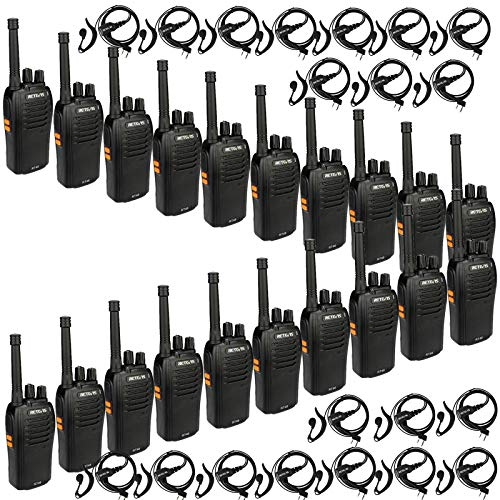 Retevis RT46 Walkie Talkie with Earpiece,Long Range Two Way Radios,Emergency Flashlight VOX AA Battery Dual Power Rechargeable,for Business Retail School Church(20 Pack)
