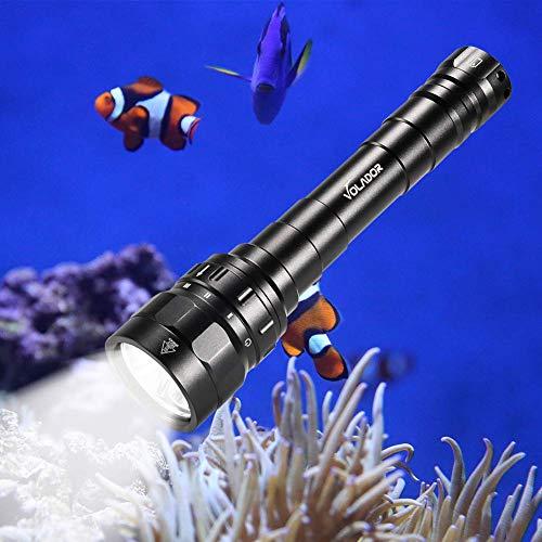 Volador Tauchen Taschenlampe, 3100 Lumen Unterwasser Taschenlampe, Unterwasser100m wasserdicht Submarine Licht mit 2X 18650 Akku und Ladegerät