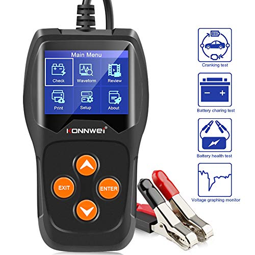 KONNWEI KW600 Car Battery Load Tester Black Professional Automotive Alternator Digital Analyzer Waveform Voltage Test Tool for Vehicle/Boat/Motorcycle