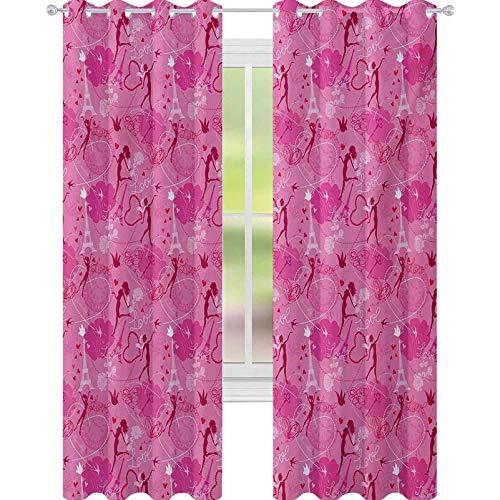 YUAZHOQI - Cortina de ventana de París con elfos voladores Eros Love Town Center of Romance Magic City Concept de San Valentín de 132 x 213 cm, cortinas opacas para dormitorio magenta y fucsia