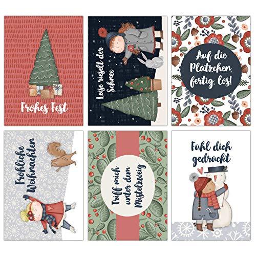 Weihnachtskarten Set - 12 liebevoll gestaltete Postkarten zu Weihnachten - Kunstdruck zum Verschicken, Pakete dekorieren und Sammeln - Grußkarte Weihachten - Winter Cozy Karten Set 18