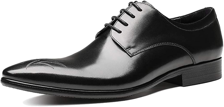 LIXIGB-sHerren Leder Formelle Schuhe Mode Mode Spitz Schwarz Brogues Klassischen Stil Kleid Schuhe Schnüren Arbeit Bussiness Oxford Schuhe,Braun,39EU
