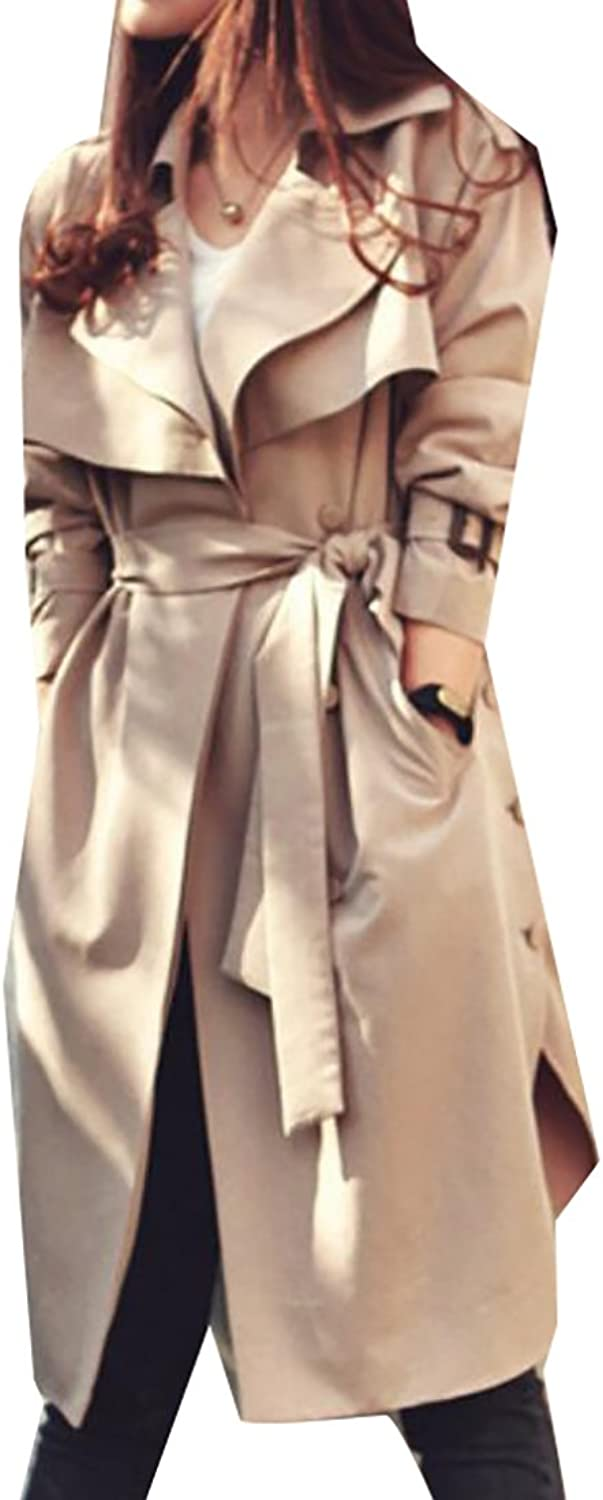 Fensajomon Womens Slim Fit Solid color Lapel Belted Cardigan Trench Coat