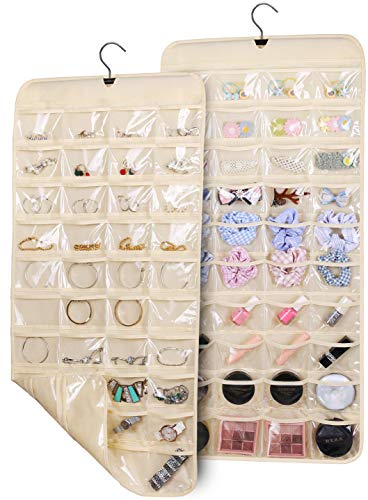 KIMBORA Double Sided Hanging Jewelry Organizer 80 Pockets Accessory Storage with Rotating Hanger 2-Pack for Earring Necklace Bracelet, Beige