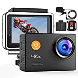 Caméra d'action, 4K WiFi 40M étanche 2.4G Télécommande Caméra Numérique sous-Marine avec Microphone Externe Objectif Grand Angle réglable 2x1050mAh Batteries Accessoires Complets