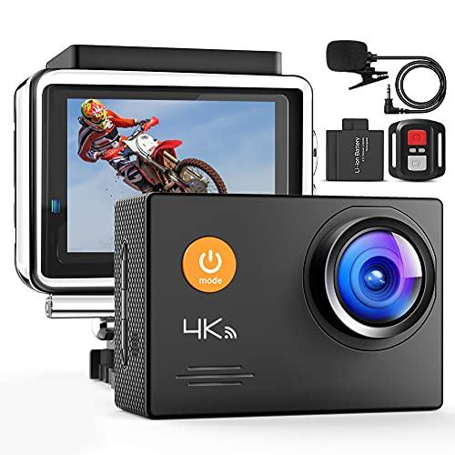 4K Action Cam A79, UHD 30FPS WiFi Unterwasserkamera, 40M wasserdichte Kamera 170° Weitwinkel Helmkamera (2.4G Fernbedienung, Externes Mikrofon, 2x1050mAh Akkus und andere Zubehör)