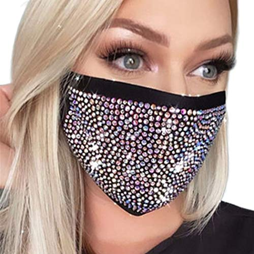 Fairyu Sparkly Rhinestone Face Mask Washable Elastic Halloween Mesh Mask Night Club Fashion Glitter Bling Face Mask Jewelry for Women and Girls (Black)