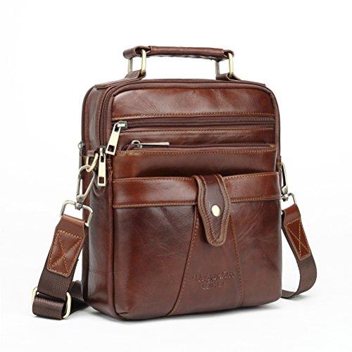 Langzu Men's Genuine Leather Messenger Shoulder Bag Handbag CrossBody Briefcase (brown-6013)