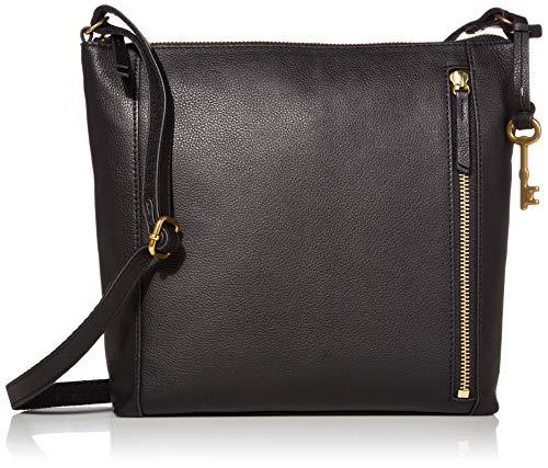 Fossil Women's Tara Leather Crossbody Purse Handbag, Black