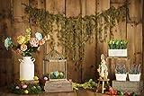 Fondos de Color Rosa Flor Floral Puerta de Madera Vieja Pared Fiesta de cumpleaños Bebé Recién Nacido Fondos fotográficos Photocall Photo A5 3x3m
