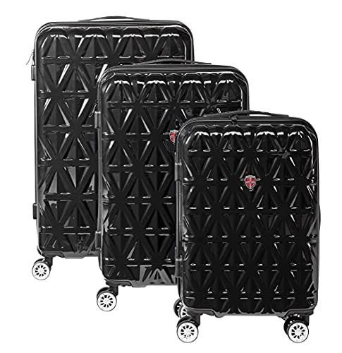 """Ellehammer - Juego de maletas Prism de 20""""/55cm (35L) 24""""/65cm (55L) y 28""""/75cm (85L) - Diseño negro atemporal y resistente material ABS/PC - Candado de combinación TSA fijo."""