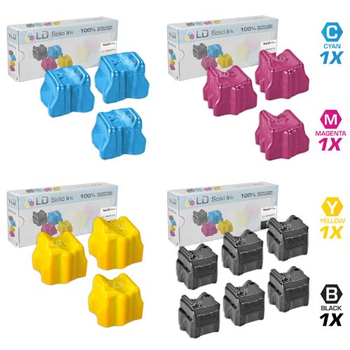 LD Comaptible Xerox Phaser 8560 Set of 15 Solid Ink Sticks: 6 Black 108R00727 & 3 Cyan 108R00723, Magenta 108R00724, Yellow 108R00725 for the Phaser 8560, 8560DN, 8560DT, 8560DX, 8560MFP & 8560N