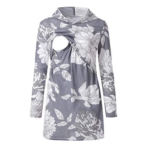 XZYP Damska bluza z kapturem z długim rękawem do karmienia na co dzień bluzka do karmienia piersią, szara, XXL