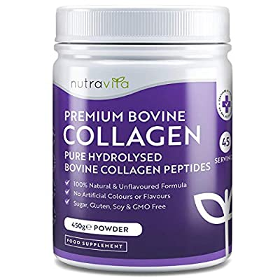 Pure Hydrolysed Grass Fed Bovine Collagen Peptides Powder - 450g of Premium Protein Powder - 100% Natural Bovine Collagen Peptides - No Artificial Colours/Flavours - Made in UK by Nutravita from Nutravita