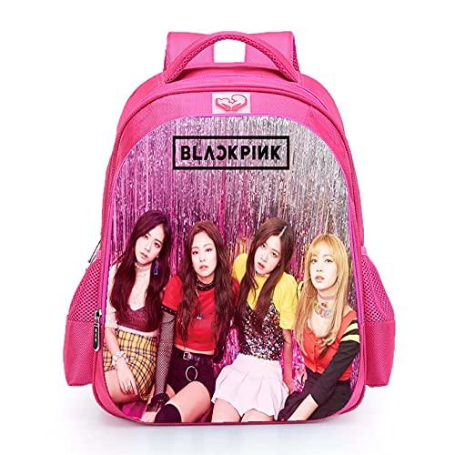 Mochila escolar Blackpink impermeable Jisoo Lisa Rose Jennie con imagen de color rosa, para niñas y adolescentes, mochila escolar (Blackpink15)