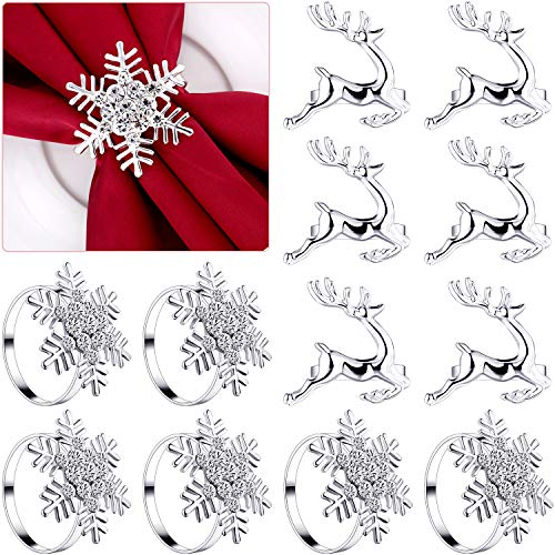 12 Pieces Christmas Napkin Rings Set, 6 Pieces Elk Chic Napkin Rings and 6 Pieces Rhinestone Snowflake Napkin Rings for Christmas Wedding Birthday Party Supplies (Silver)