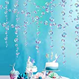 4 Strings Flat Mermaid Party Decoration Puple Blue Bubble Garlands Transparent Hanging Bubbles Streamer Banner Backdrop Ocean Pool Under the Sea Beach Kids Birthday Bday Baby Shower Room Ceiling Decor