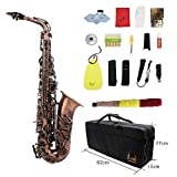 Lefang Saxophon Sax Glossy Red Copper Graved Eb E-Flat Natural