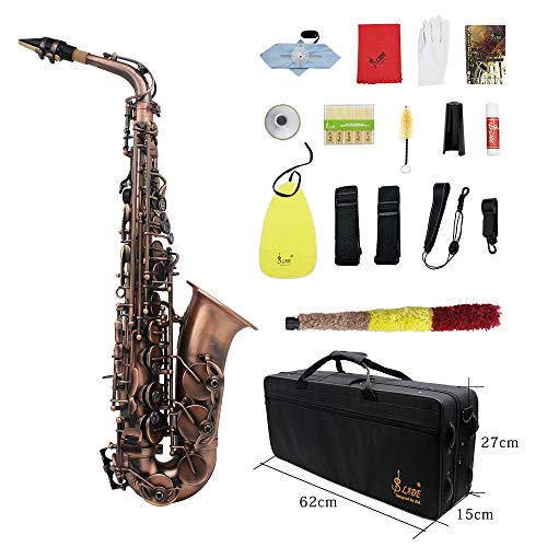 Lefang Saxofoon glanzend rood koper gravure EB E-Flat Naturel Abalone Shelll windknop instrument met etui Mute handschoenen, reinigingsdoek vet riem borstel