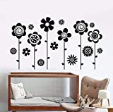 zhuziji Wall Stickers for Living Room Blue , Home Flower Garden Nature Girl Waterproof Self-Adhesive Nursery, Mall Wall Sticker85x48cm
