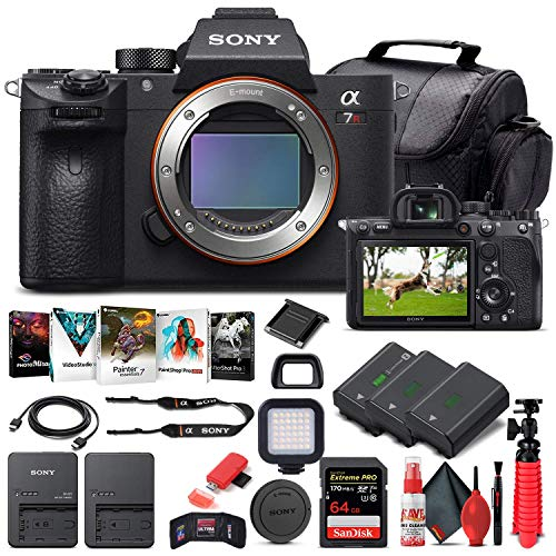 Sony Alpha a7R IV Mirrorless Digital Camera (Body Only) (ILCE7RM4/B) + 64GB Memory Card + 2 x NP-FZ-100 Battery + Corel Photo Software + Case + Card Reader + LED Light + More (Renewed)