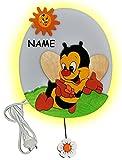 alles-meine.de GmbH hochwertige Wandlampe aus Holz - Biene mit Blume incl. Name - 28 cm hoch - für Kinder Kinderzimmer - Wandleuchte - Lampe Tiere - Tier Bienen Honig - Mädchen J..