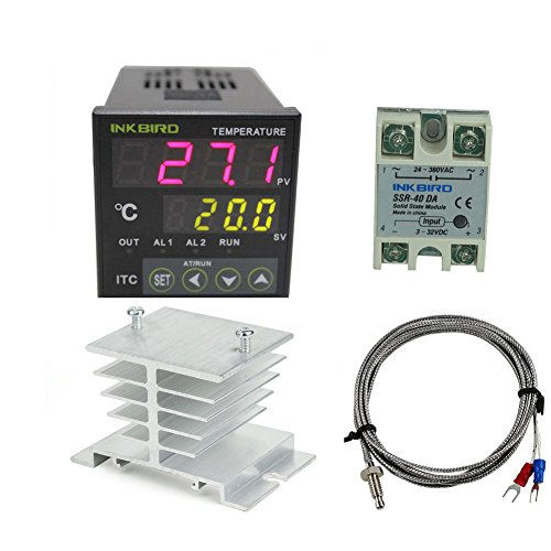 Inkbird AC 100 to 220V ITC-100VH Outlet Digital PID Thermostat Temperature Controller 40DA SSR White Heat Sink K Thermocouple