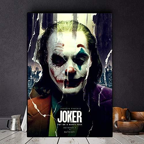 BGFDV 2019 Joker Actor de película Joaquín Lienzo Pintura al óleo póster impresión Pared Arte decoración de Imagen Sala de Estar