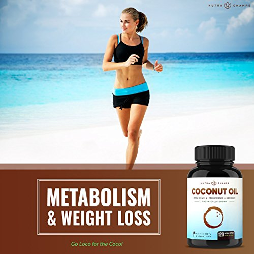 Organic Coconut Oil Capsules 2000mg - 120 Softgels Extra Virgin, Unrefined, Cold Pressed, Unfiltered 1000mg Pills Rich in MCT & MCFA for Healthy Weight Loss, Hair, Skin, Nails, Heart, Brain Health
