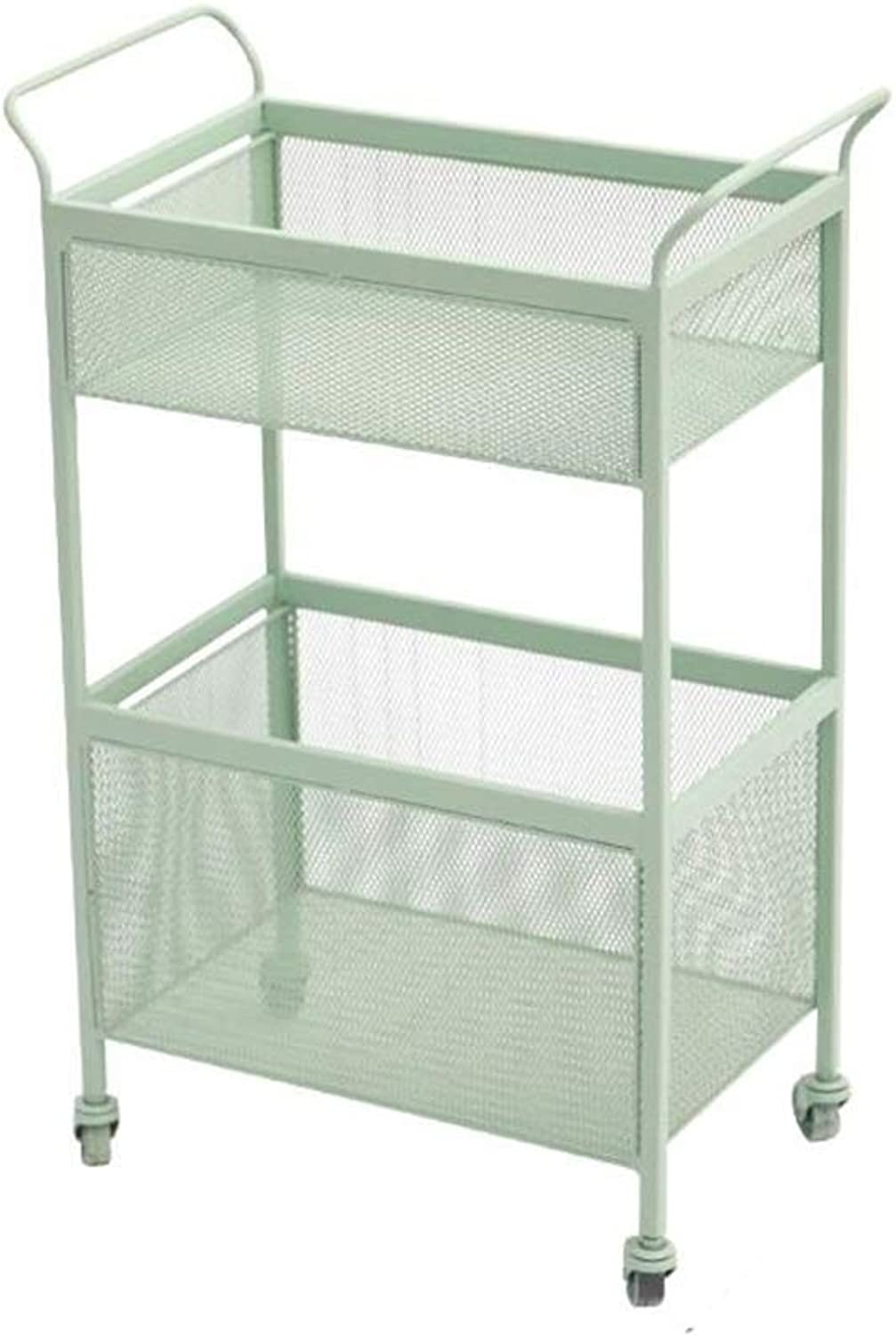 JCAFA Shelves Iron Double Shelf Four-Wheeled Trolley with Pulley DIY Open Bookcase Home Improvement Kitchen Rack, Tool Holder (color   Light Green, Size   15.74  10.03  27.95in)