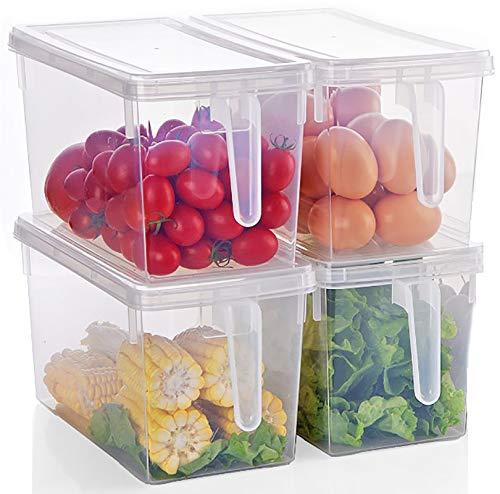 Yesland 4er Set 5,5 L Kühlschrank Aufbewahrungsorganizer für Lebensmittel, Große Stapelbare Aufbewahrungsbehälter aus Kunststoff mit Griff, Refrigerator Organizer mit Deckel für Obst, Gemüse, Salat