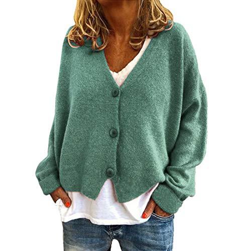 QJSZ Damen Kurze Strickjacke Langarm Cardigan Elegante Jacke V Ausschnitt Einfarbig Pullover Stricken Tasten Streetwear Vier Jahreszeiten All-Match Übergangsmantel XL