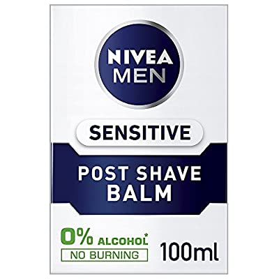 Nivea Men Sensitive Post Shave Balm with Zero Percent Alcohol Pack of 3 (3 x 100 ml), After Shave Balm for Men, Men's Skin Care and Shaving Essentials by BEIERSDORF UK LTD