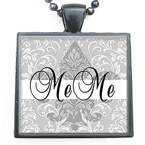 MeMe Fleur de Lis Grandmother Glass Tile Black Pendant Necklace W/chain