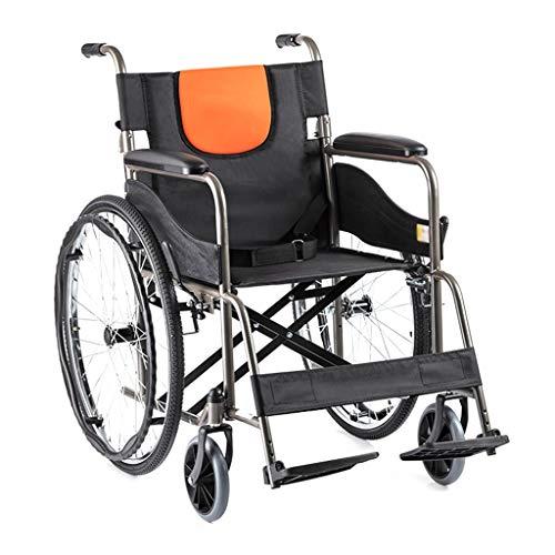 Teng Peng Rollstuhl, klappbarer Stahl-Materialtransport mit medizinischem Handbuch leicht und langlebig, mit aufblasbarem Hinterrad, Erwachsener Alter Mann, 24-Zoll-Hinterrad Leicht zusammenklappbare