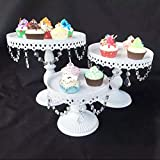 Alzata per torte in cristallo vintage, 3 pezzi, decorazione per compleanni, matrimoni e feste, colore: bianco